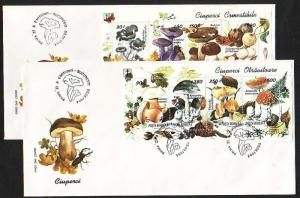 Romania, Scott cat. 3935-3936. Mushroom sheets on 2 First day covers.