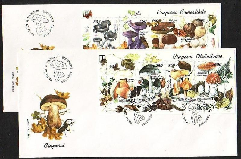 Romania, Scott cat. 3935-3936. Mushroom sheets on 2 First day covers