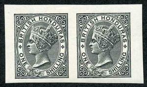 British Honduras 1/- in black horizontal pair on gummed paper