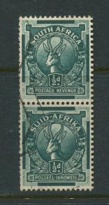 SOUTH AFRICA -Scott 33- Springbok -1930 -VFU- Vert.Pair 1/2d Stamps