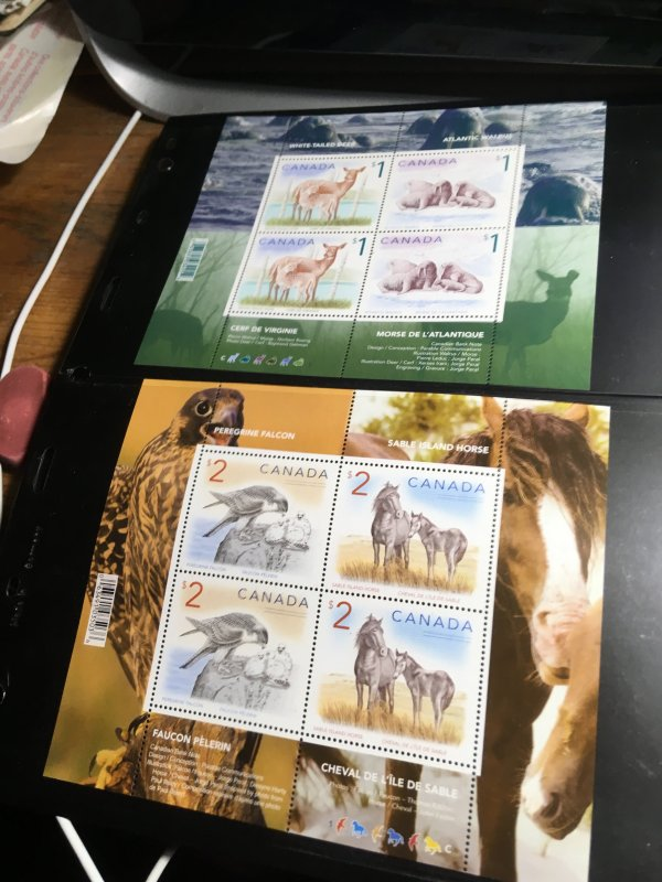 Canada #1689b&1692b Mint VF-NH 1998 $1&$2 Wildlife Souvenir Sheets Face Alone$12