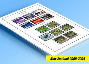 COLOR PRINTED NEW ZEALAND 2000-2004 STAMP ALBUM PAGES (88 illustrated pages)
