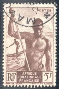 French Equatorial Africa ~ #179 ~ Niger Boatman ~ Used