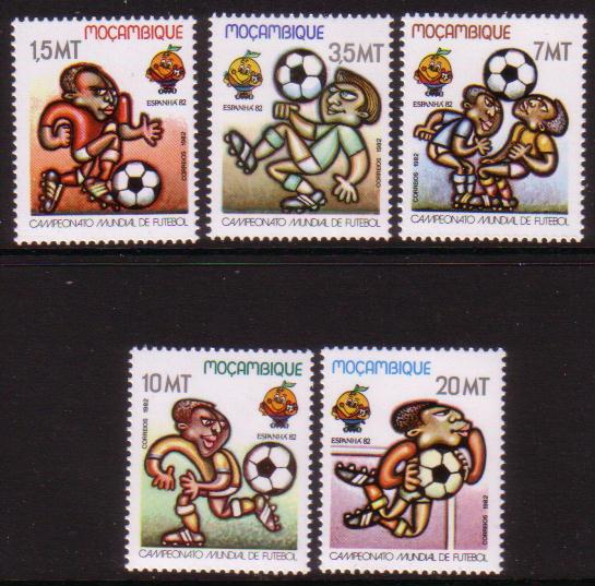 XG-A391 FOOTBALL - Mozambique, 1982 Spain 82 World Championship 5 Stamps MNH Set