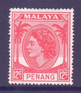 Malaya Penang Scott 36 - SG35, 1954 Elizabeth II 12c MNH**
