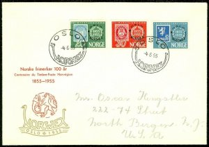 EDW1949SELL : NORWAY Scott #340-42 on 1955 First Day cover to USA.