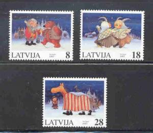 Latvia Sc 458-60 1997 Christmas stamp set mint NH