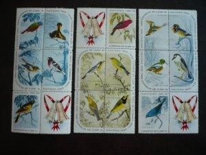 Stamps - Cuba - Scott#1029a, 1034a, 1039a - Set of 3 MNH Blocks of 5 stamps +1f