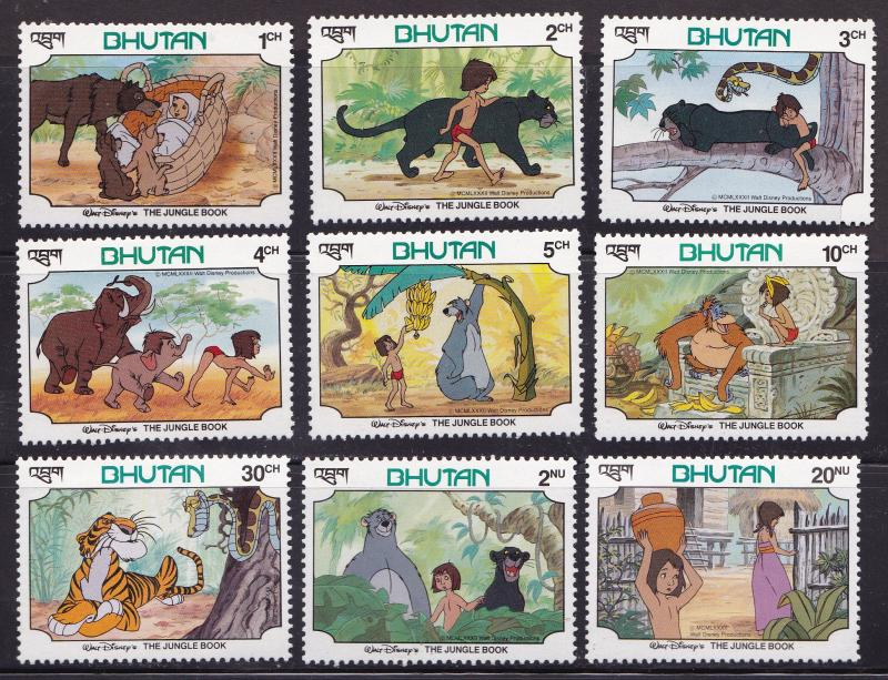 Bhutan 1982 Disney The Jungle Book Complete (9) Post Office Fresh VF/NH(**)