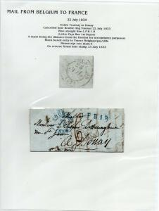 FRANCE Early Incoming LETTER/COVER 1833 fine used item Tournay - Douay