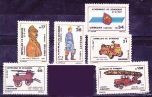 URUGUAY Sc#1262/7 MNH STAMP firemen 100 years firetruck &  fire pump
