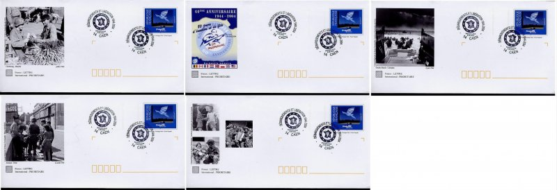 war ww2 D-Day and Liberation in Normandy set of 5 postal stationery 2004