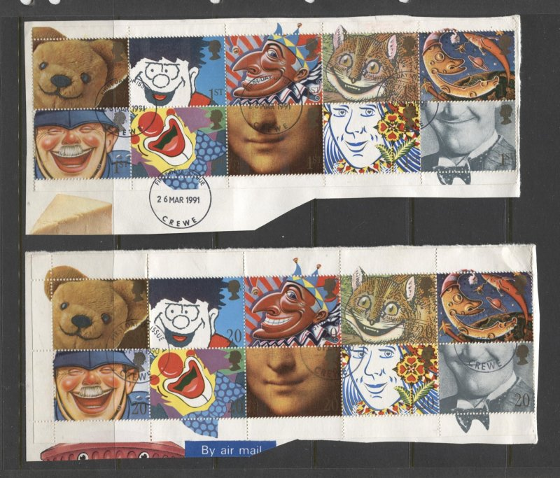 STAMP STATION PERTH GB #1304-1313,1373a -2 X Different Smiles Pane of 10 Used