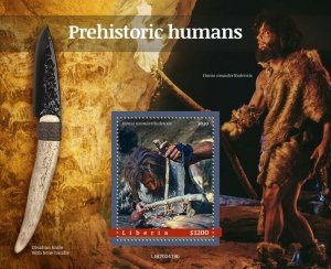 YEAR 2020/10- LIBERIA- PREHISTORIC HUMANS         1V complet set    MNH ** T