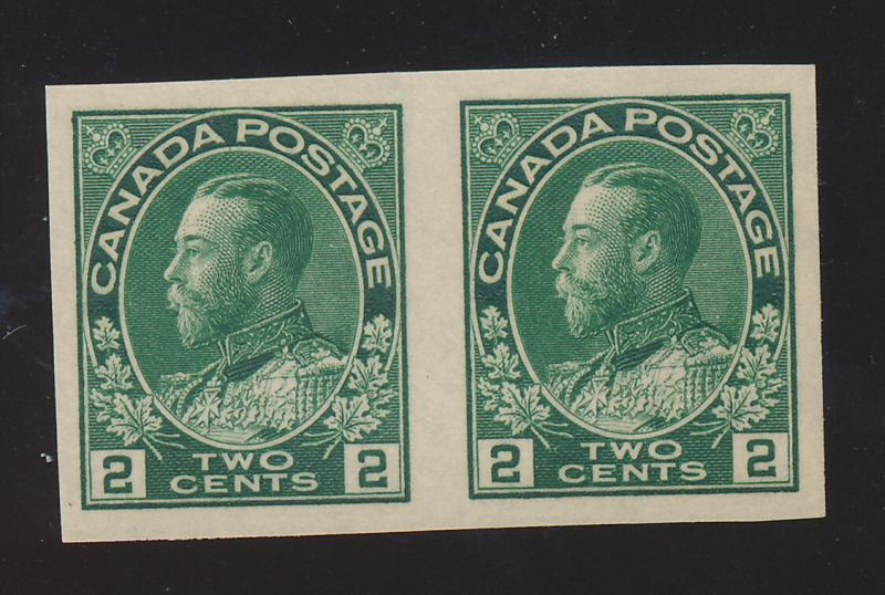 Canada Stamp Scott #137 Imperforate Pair, Mint Never Hinged - Free U.S. Shipp...