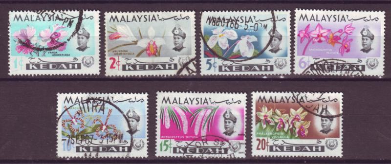 J18013 JLstamps  [low price] 1965 malaya kedah set used #106-12 flowers