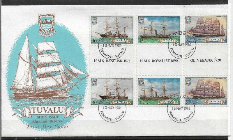 TUVALU 1981 FINE Cachet FDC Sailing Ships, Ships,VF-XF !! (RN-50)