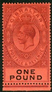 GIBRALTAR-1912-24 £1 Dull Purple & Black/Red.  A superb unmounted mint Sg 85