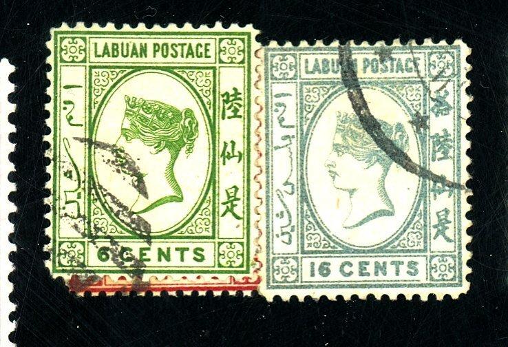 Labuan #33-34,38 Used FVF Cat$55