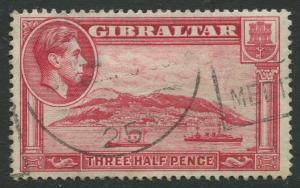 Gibraltar #109  KGVI  Used  Scott CV. $0.90.