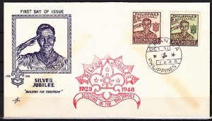 Philippines, Scott cat. 528-529. Silver Jubille issue. First day cover. ^