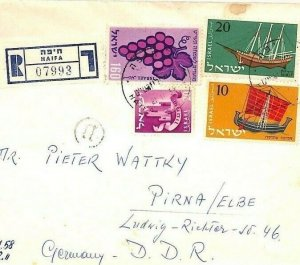 ISRAEL Air Mail Cover Haifa Registered EAST GERMANY *Pirna* 1958 {samwells}CA264