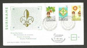 1974 Boy Scouts Surinam 50th anniversary FDC