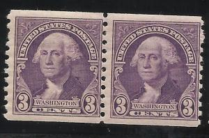 721 3c Coil Pair MNH F/VF Centering