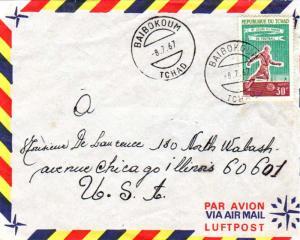 Chad 30F 8th World Cup Soccer Championship 1967 Baibokoum, Tchad Airmail to C...