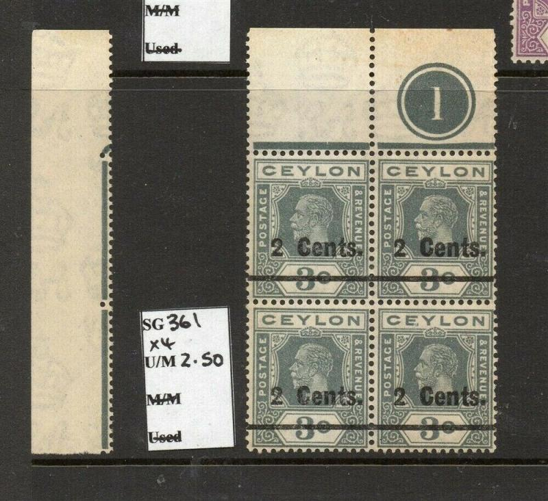Ceylon 1920s Early Issue Fine Mint MNH unmounted 2c. Surcharged Block 303238