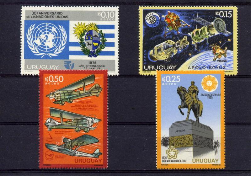 Uruguay 1975 Sc#C409/C412 Early Aircrafts /Apollo Soyuz/American Bicentennial 4v
