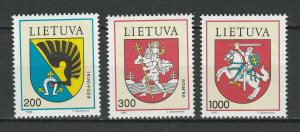 Lithuania 1992 Coat of Arms 3 MNH stamps