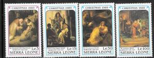 Sierra Leone #1157,1160,1161,1163   1989 Christmas (MNH)  CV $7.35