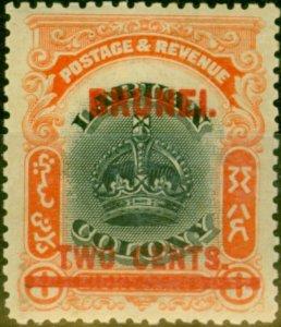 Brunei 1906 2c on 8c Black & Vermilion SG13 Fine Mtd Mint
