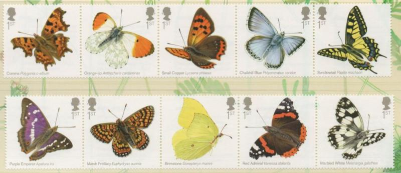 Great Britain Sc 3199-08 2013 Butterflies stamp set mint NH