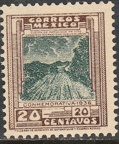 MEXICO 727, 20c HIGHWAY INAUGURATION, MINT NEVER HINGED.
