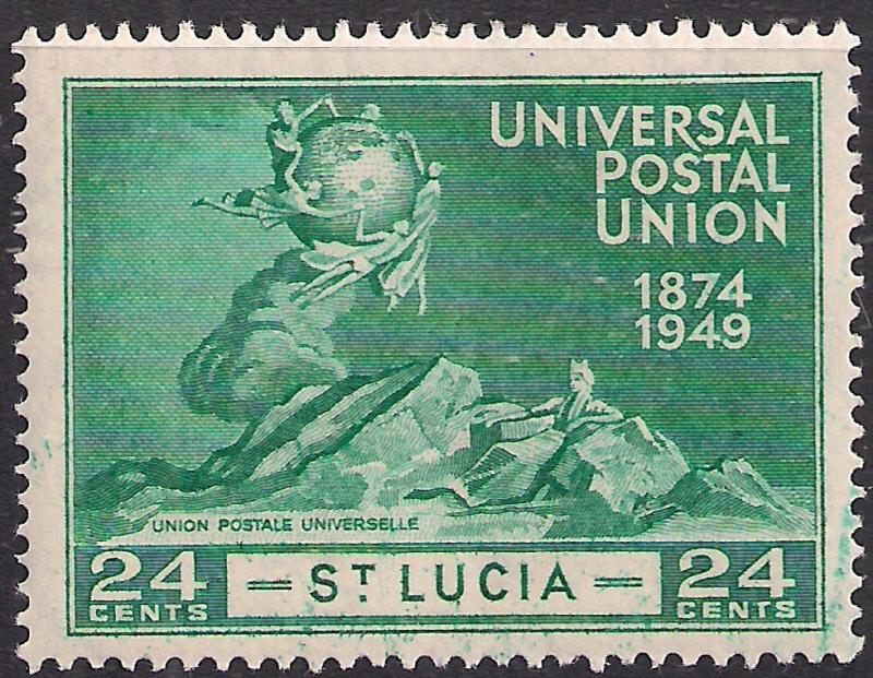 St Lucia 1949 KGV1 24ct Blue Green 75th Anniv Postal union Umm SG 163 ( L1010 )