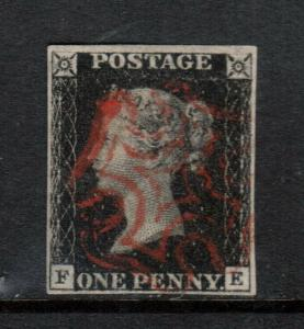 Great Britain #1 Used Fine - Very Fine With Ideal Maltese Cross Cancel