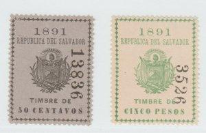 El Salvador Revenue Fiscal stamp 8-31-21- nice- no gum mnh