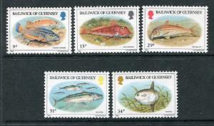 Guernsey 308-312, MNH Marine Life, Fish 1985. x29362
