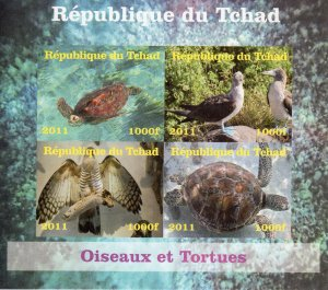 Chad 2011 Birds & Turtles Sheetlet (4) IMPERFORATED MNH