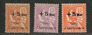 Fr. Offices Port Said Sc#B2, 3b-4 M/H/F-VF, Partial Set, Cv. $29.50