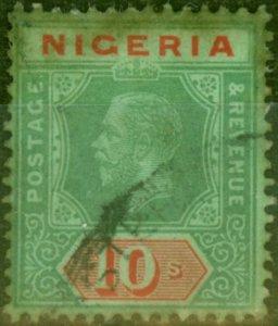 Nigeria 1915 10s Blue-Green Back SG11a Average Used