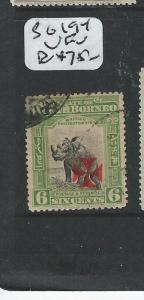 NORTH BORNEO (P1706B) 6C RHINOCEROS RED CROSS SG194  VFU