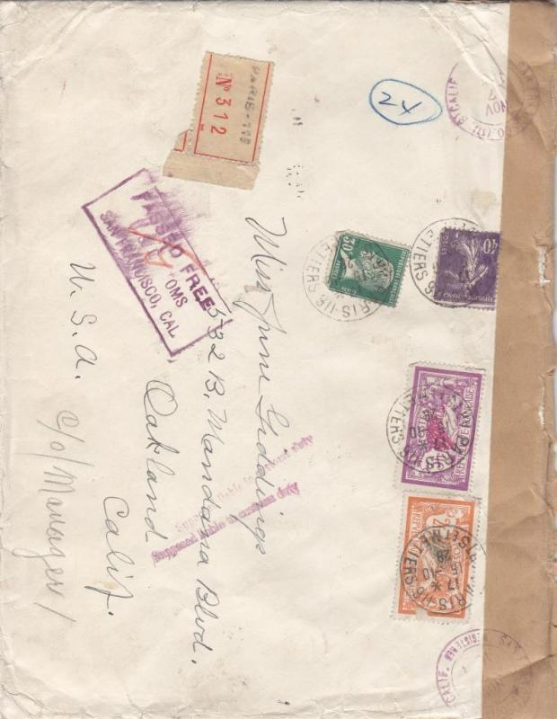 1928, Paris, France to Oakland, CA, Registered, See Remark (9399)