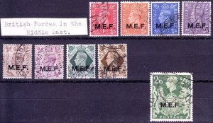 Great Britain - Middle East Forces (MEF) - #1 to 9 - 1942/43 - FU - KGVI