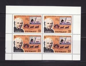 Tuvalu 124 Sheet of 4 MNH Stamps on Stamps (C)