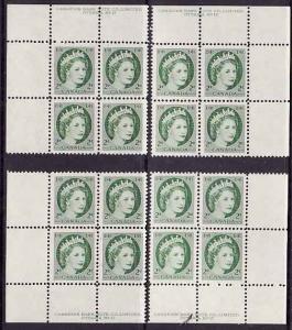 Canada id#12179-Sc#338-set of plate blocks#17-2c green QEII Wilding-Unused , og