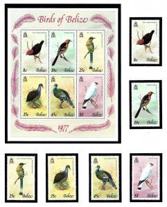 Belize 387-92a MNH 1977 Birds