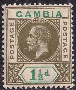 Gambia 1912 - 22 KGV 1 1/2d Olive & Blue Green MM SG 88 ( D1169 )